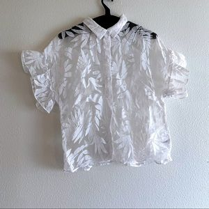 A New Day Sheer Leaf Pattern White Button Up